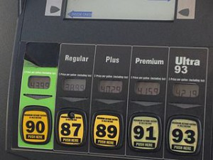 Picture of grades of gasoline at a pump